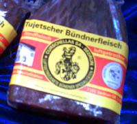 Bündnerfleisch aus dem Val Tujetsch (Sedrun, Metzgerei Curschellas, Januar 2007)