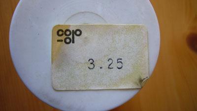 Gute alte Zeit: Preisschild und altes Coop-Logo auf einem Sipuro-Reiniger