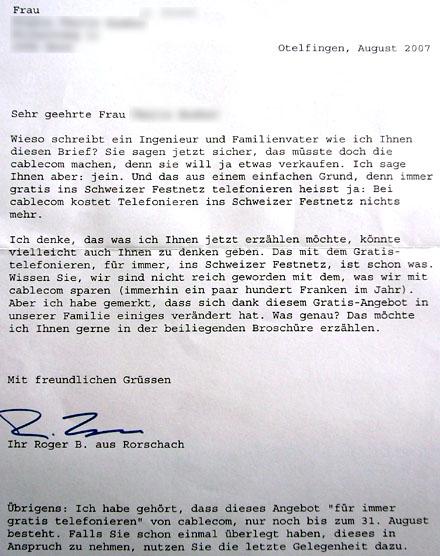 Cablecom-Werbung, Sommer 2007: ojemine...