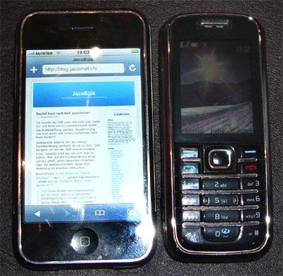 iPhone und Nokia 6233 im Vergleich: Ich sagte ja schon immer, dass sich die Kerlchen gleichen! (13.11.2007, Bern)