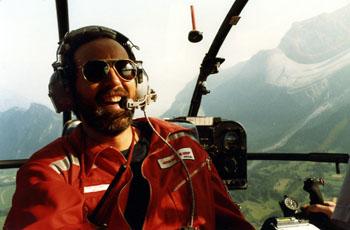 Am Anfang seiner Karriere: Juli 1984 in der Alouette III, dem damaligen Arbeitspferd der Rega