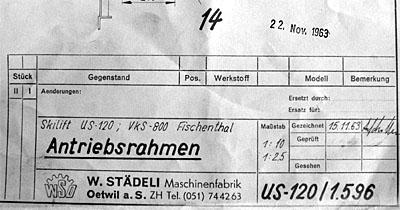Konstruktionsplan Skilift Fischenthal (WSO, 1963)