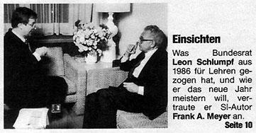 Frank A. Meyer und EVED-Vorsteher Leon Schlulmpf: Schweizer Illustrierte vom 29.12.1986, Seite 3
