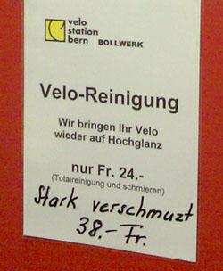 Verschmust-verschmutzt: Velostation Bollwerk, September 2006