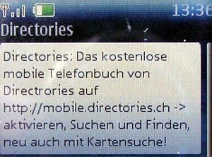 Directories schickt unerwünschte Kurzmitteilungen (vom 2. Oktober 2006)