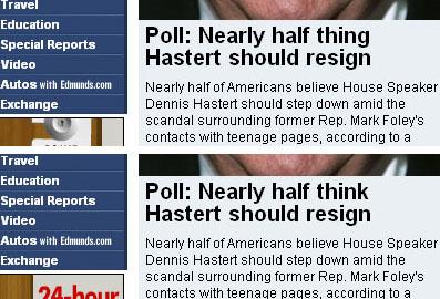 Halbe Sachen bei CNN (Screenshots von www.cnn.com im Oktober 2006)