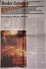 Extrablatt der Basler Zeitung zum Brand in Schweizerhalle, verteilt am 1.11.1986 - klicken für grössere Fassung