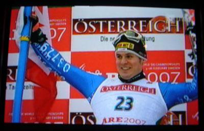 Silbermedaillen-Gewinner Daniel Albrecht vor Österreich-Kulisse, WM 2007, Are (Screenshot SF)