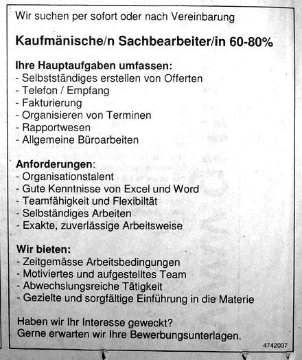 """Stellenanzeige ohne Adressangabe, """"Bund"""" vom 7. April 2007"""