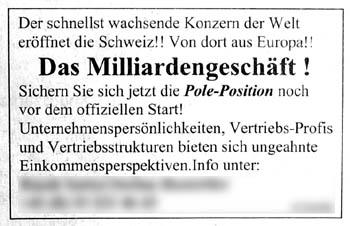 Schnellst wachsend, im Fall, ey! Milliarden! Europa!!! Eröffnet die Schweiz!!!!! (Stellenanzeiger, 14.4.2007)