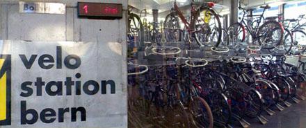 Verarschung der Velofahrer in Bern: 1 freier Platz? Pustekuchen... Schrottsystem! (April 2007)