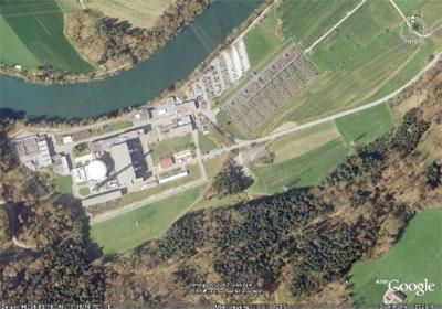 AKW Mühleberg aus der Vogelperspektive (Copyright Google Earth)