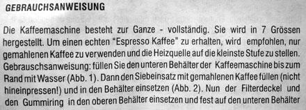 Gebrauchsanweisung einer Bialetti-Kaffeemaschine (zur Ganze, im Fall!)