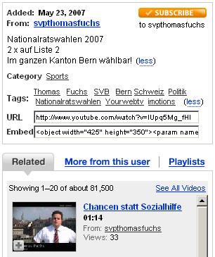 Screenshot aus YouTube, 3. Juni 2007 - will Thomas Fuchs die SVB wieder einführen, oder ist das eine neue Partei?
