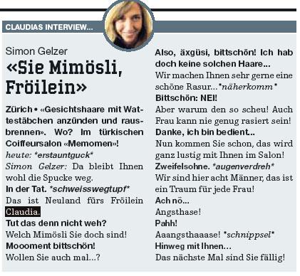 """Aus einem """"heute"""" vom Mai 2007 - Claudias birnenweiche Interviews wären einmal lustig, alle paar Tage aber nerven sie aber einfach nur noch!"""
