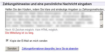 Ja was denn nun: 10 Zeichen oder zu lang? ebay.ch, 11. Juli 2007