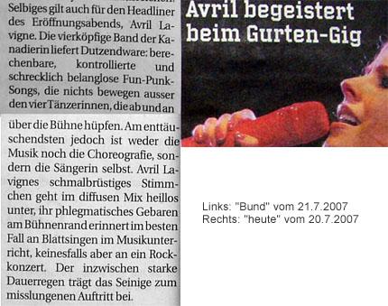"""""""Bund"""" und """"heute"""" mit doch recht gegensätzlichen Aussagen zum Auftritt von Avril Lavigne am Gurtenfestival 2007"""