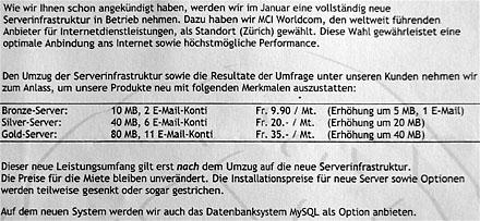 Boah, 10 MB Serverplatz für 9.90 im Monat... so war das im Jahr 2000!