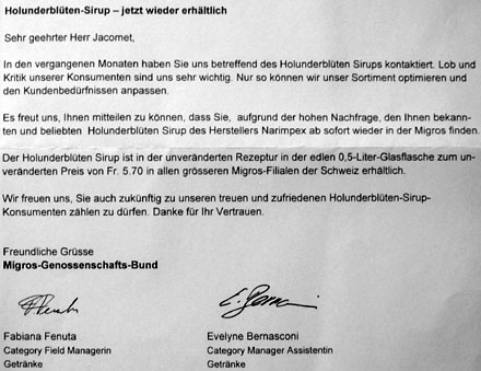 Brief der Migros vom 2.8.2007