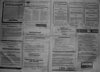 Stellenanzeigen in einer NZZ von 1985 (Klicken für grosse Fassung von zwei Seiten Stelleninseraten)