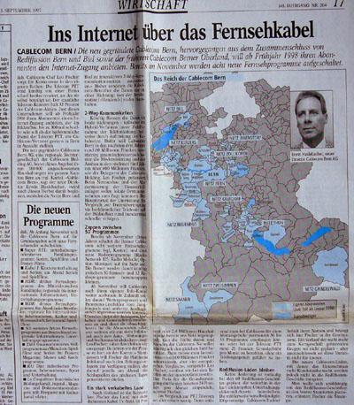 """Das waren noch goldene Cablecom-Zeiten... """"Bund"""" vom 3. September 1997 (Klicken für grössere Fassung)"""