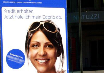 Werbung eines Kreditunternehmens: Wenn schon für ein GA... (Winterthur, 2. September 2007)