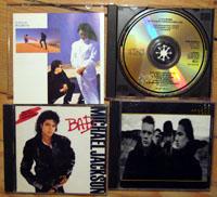 Meine ersten drei CDs: U2, Michael Jackson, Cock Robin (September 1987 - klicken für grössere Fassung)