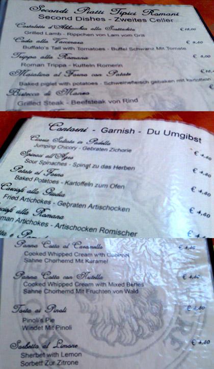 Speisekarte in Rom: Buffel Schwanz oder Chorhemd? (September 2007 - Klicken für grössere Fassung)