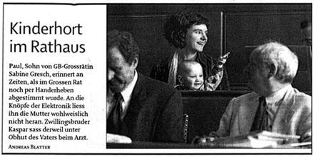 Sabine Gresch und Paul im Grossen Rat (Berner Zeitung, Februar 2005)