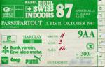 Ticket der Swiss Indoors 1987, damals noch recht günstig... sauber geknipst von der Securitas (Klicken für grössere Fassung)
