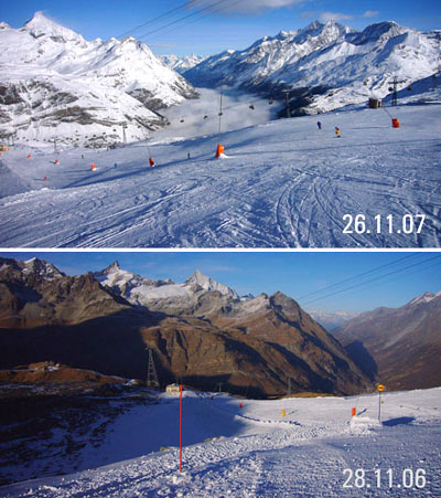 Vergleich der Schneeverhältnisse 2006/2007 - vor einem Jahr hatte es bloss Kunstschnee