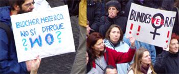 Demo gegen den männerdominierten Bundesrat am 13.12.2003 in Bern - wer hätte gedacht, dass vier Jahre danach......