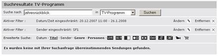Mühsame Suche nach Sendungen auf sf.tv