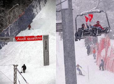 Lauberhorn 2008: Slalom wetterbedingt am Samstag - Helfer schaufeln den Schnee aus dem Zielschuss (Fotos: Sebastian Hueber für JacoBlök)