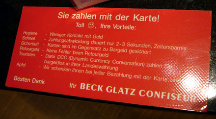 Bezahlen mit Karte wird forciert: Gut so! (Januar 2008)