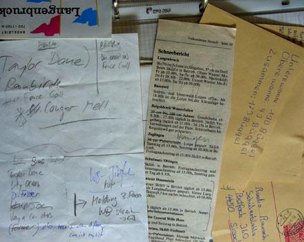 Notizen zur Sendung vom 11.3.1988, Schneebericht aus der Zeitung, Postkarten