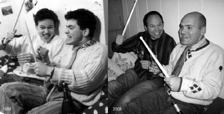 Schülerzeitungsmacher anno 1988 und 2008 - die Zeit hat ihre Spuren hinterlassen! (Fotos: Stefanie Jacomet 1988 / Lucinda Tanner 2008)