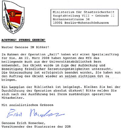 Erich Honecker schreibt an IM Blöker - streng geheim!