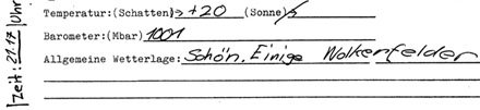 Das Wetter in Itingen am 20. Juni 1982 um 21.17 Uhr (Klicken für komplette Fassung mit drei Tageseintragungen)