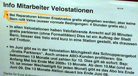 Mitarbeiterinfo mit interessanten News für Berner VelofahrerInnen (Mai 2008)