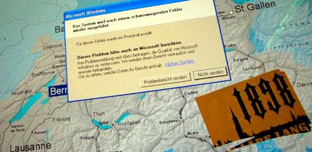 SBB-Info mit Windows-Fehler und YB-Kleber (11. Mai 2008)