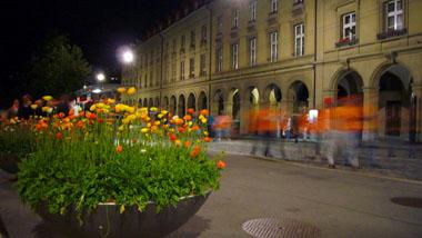 Orange Pflanzen, orange Heimkehrer aus dem Stade de Suisse