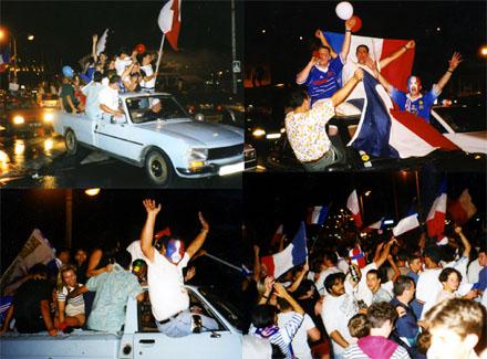 12. Juli 1998, Cannes: Die Franzosen feiern den Fussball-Weltmeistertitel des Bleus