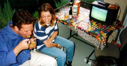 EM 1996, Balkonfete an Blökers 24. Geburtstag
