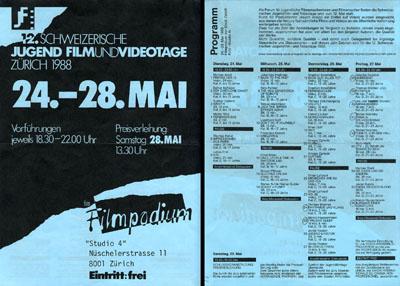 Programm der Jugendfilmtage 1988 (klicken für grössere Fassung)