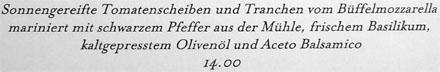 Wie man einen Caprese-Salat auch noch bezeichnen kann (Casino Bern, Juni 2008)