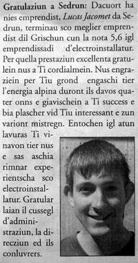 Der Beste: Gratulation für Lucas in der Zeitung