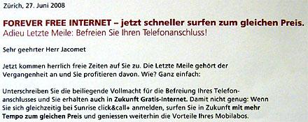 Wunderbar: Swisscom ade - für immer! (Juli 2008)