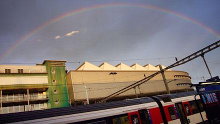 Regenbogen: Bahnhof Luzern, Sonntagabend, 6. Juli 2008, 20.55 Uhr