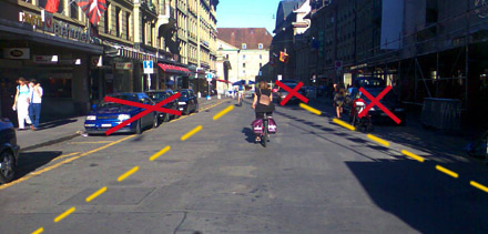 Zeughausgasse Bern: Autos raus, Velostreifen her!